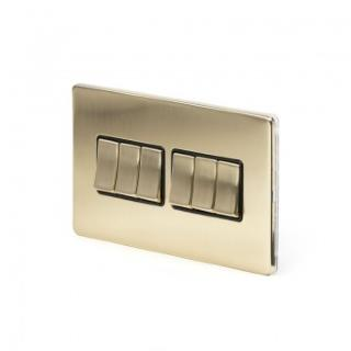 The Savoy Collection Satin Brass Period 10A 6 Gang 2 Way Switch With Black Insert